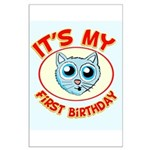 1st Birthday kitty Large Poster