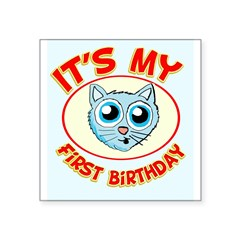 1st Birthday kitty Square Sticker 3