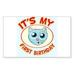 1st Birthday kitty Sticker (Rectangle 10 pk)