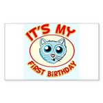 1st Birthday kitty Sticker (Rectangle)