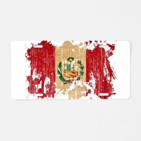Peru Flag Aluminum License Plate