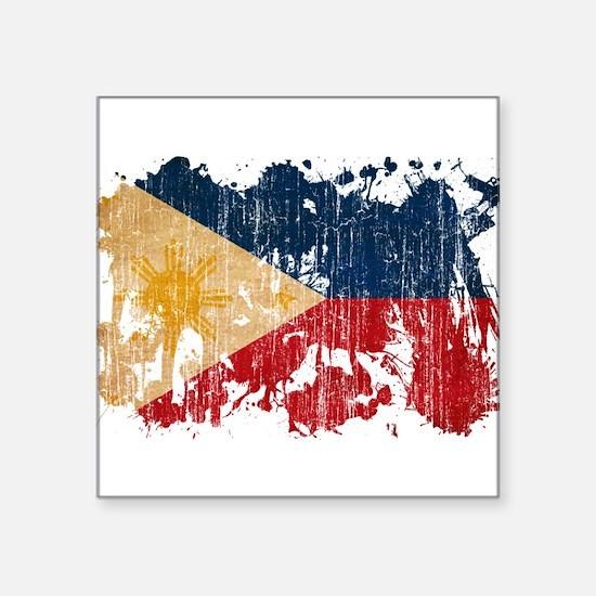 "Philippines Flag Square Sticker 3"" x 3"""
