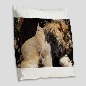 As the loin sleeps Burlap Throw Pillow
