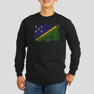 Solomon Islands Flag Long Sleeve Dark T-Shirt