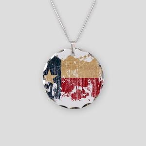 Texas Flag Necklace Circle Charm