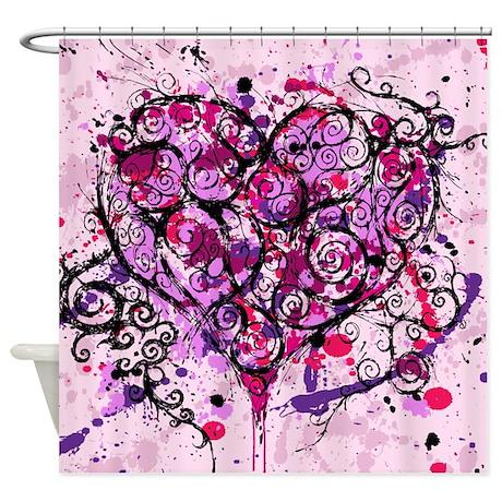 Heart & Scroll Shower Curtain