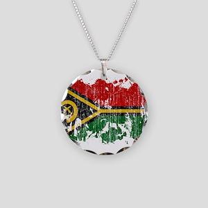 Vanuatu Flag Necklace Circle Charm