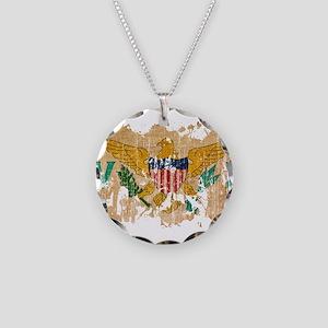 Virgin Islands Flag Necklace Circle Charm