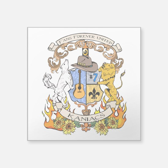 "Kaniac Crest English Motto Square Sticker 3"" x 3"""
