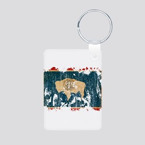 Wyoming Flag Aluminum Photo Keychain