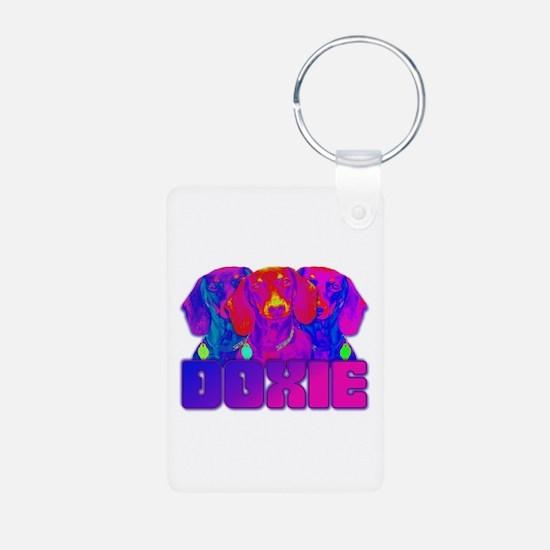 Op Art Doxie Keychains