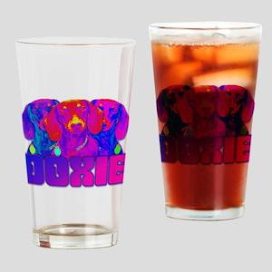 Op Art Doxie Drinking Glass