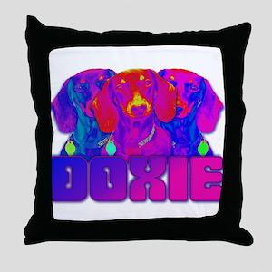 Op Art Doxie Throw Pillow