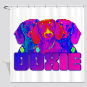 Op Art Doxie Shower Curtain