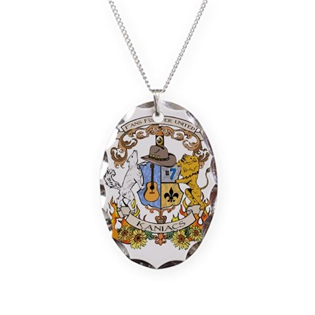 Kaniac Crest English Motto Necklace Oval Charm