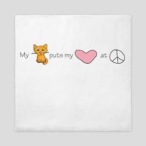 peace love kitty Queen Duvet