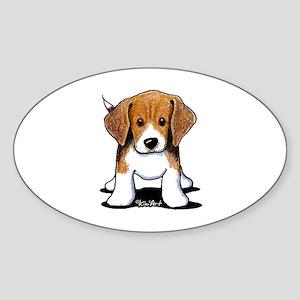 Beagle Puppy Sticker (Oval 10 pk)