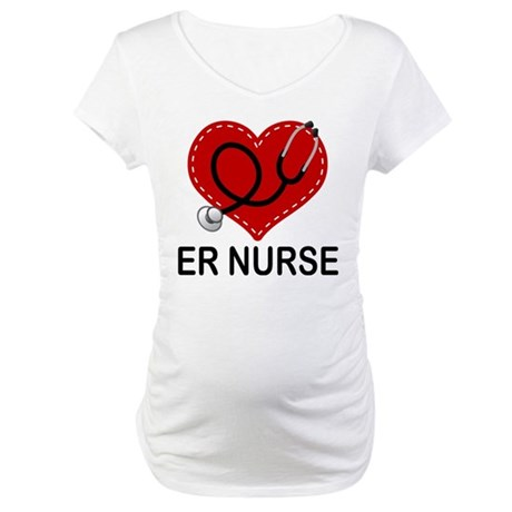 ER Nurse Heart Maternity T-Shirt