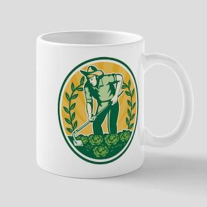 Farmer Gardener With Garden Hoe Cabbage Mug
