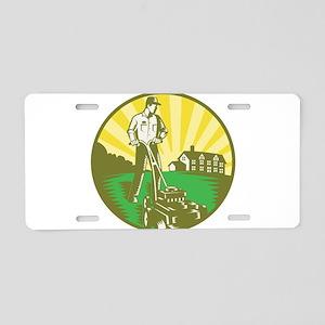Gardener Mowing Lawn Mower Retro Aluminum License