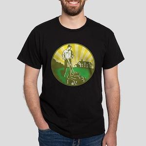 Gardener Mowing Lawn Mower Retro Dark T-Shirt