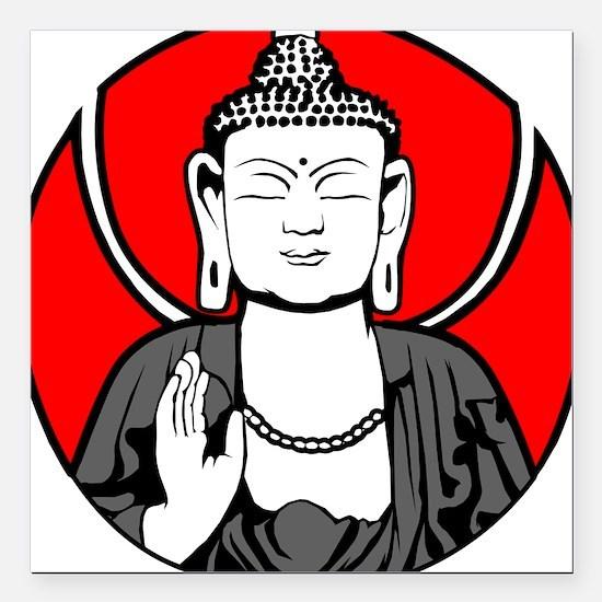 "Buddha Soul Window Square Car Magnet 3"" x 3"""