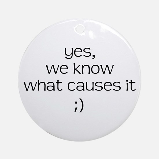 YES WE KNOW WHAT CAUSES IT Ornament (Round)