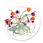Atom Flowers Round Car Magnet