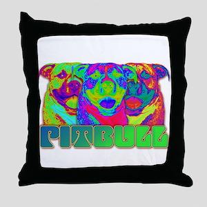 Op Art Pitbull Throw Pillow
