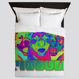 Op Art Pitbull Queen Duvet