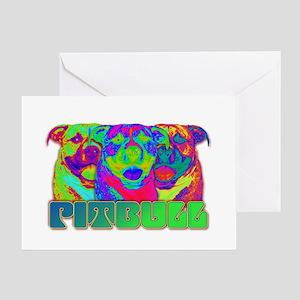 Op Art Pitbull Greeting Card