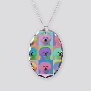 Op Art Bichon Necklace Oval Charm