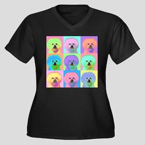 Op Art Bichon Women's Plus Size V-Neck Dark T-Shir