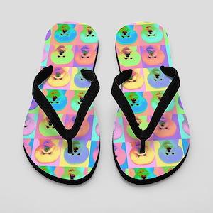Op Art Bichon Flip Flops
