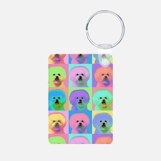 Op Art Bichon Keychains
