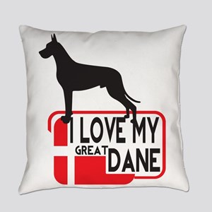 i love my great dane Everyday Pillow