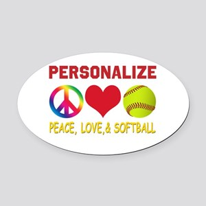 Personalize Girls Softball Oval Car Magnet