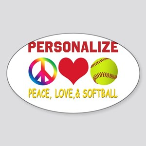 Personalize Girls Softball Sticker (Oval)