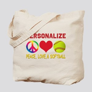 Personalize Girls Softball Tote Bag