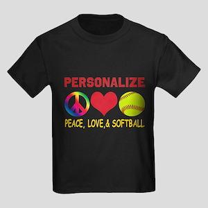 Personalize Girls Softball Kids Dark T-Shirt