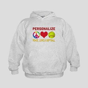 Personalize Girls Softball Kids Hoodie