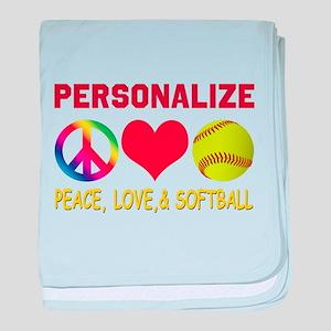 Personalize Girls Softball baby blanket