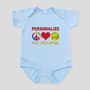 Personalize Girls Softball Infant Bodysuit