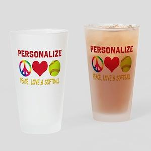 Personalize Girls Softball Drinking Glass