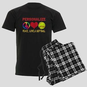 Personalize Girls Softball Men's Dark Pajamas