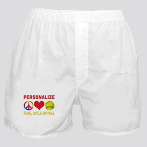 Personalize Girls Softball Boxer Shorts