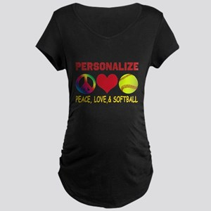 Personalize Girls Softball Maternity Dark T-Shirt