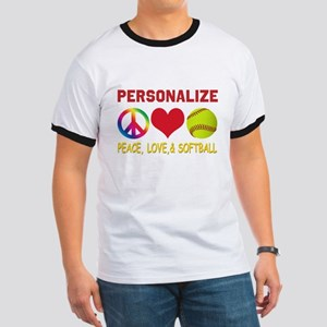 Personalize Girls Softball Ringer T