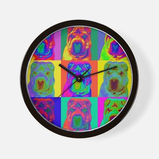 Op Art Shar Pei Wall Clock
