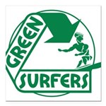 Green Surfers 10 Square Car Magnet 3